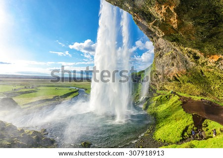at the back of seljalandsfoss in iceland