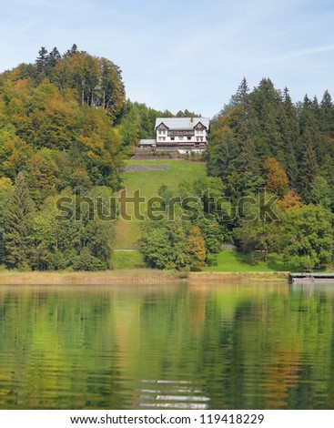 At the Freibergsee lake near the town of Oberstdorf, Germany, in early fall