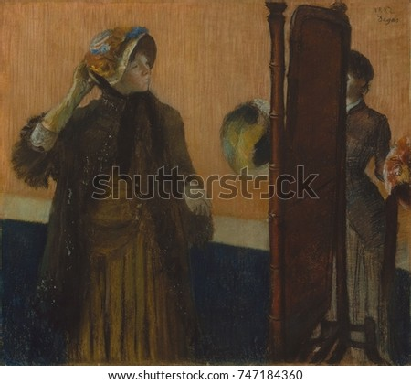 At the Milliners, by Edgar Degas, 1882, French impressionist pastel drawing. American artist Mary Cassatt was Degas model for the customer in this work