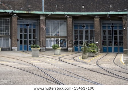 at the tram depot at the Lek in Amsterdam during the war broke out the February strike, Netherlands