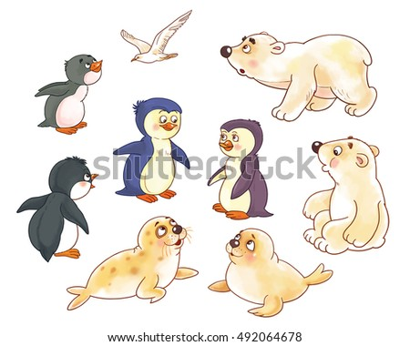 at the zoo arctic animals small set of cute arctic baby animals