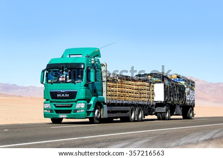ATACAMA, CHILE - NOVEMBER 14, 2015: Modern truck MAN TGS at the interurban freeway through the Atacama desert.
