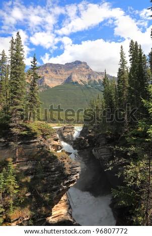 Athabasca waterfall. Rocky mountains. Jasper National Park. Alberta. Canada