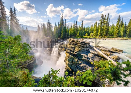 Athabasca Waterfalls by Icefields Parkway, Jasper National Park, Alberta, Canada