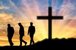 Atheism. Three men Atheists at sunset
