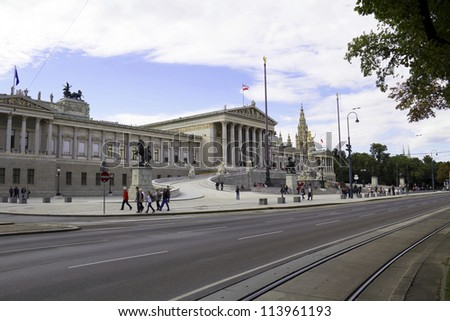Athena Fountain and Austrian Parliament in Vienna