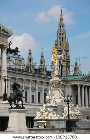 Athena Fountain, the Austrian Parliament and Vienna City Hall (Rathaus)