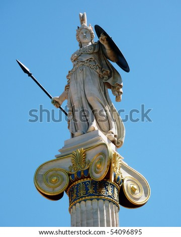 Athena statue on a column at national academy, Athens Greece