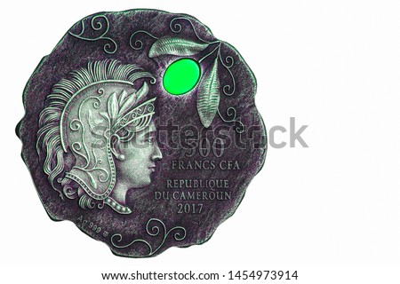 Athena the goddess of wisdom and war. on metal coins.  Mythology The beliefs of ancient Greeks, Closeup Collection.