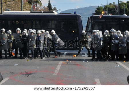 ATHENS, GREECE- DEC. 12 Molotov bomb being thrown to riot police during demonstration, in front of Greek parliament, in Athens, December 10, 2008.