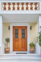 Athens Greece, elegant house entrance