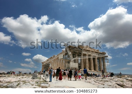 ATHENS, GREECE - JUNE 26: Restoration of the Acropolis Parthenon Temple on June 26, 2011 in Athens, Greece. Its construction began in 447 BC in the Athenian Empire. It was completed in 438 BC.