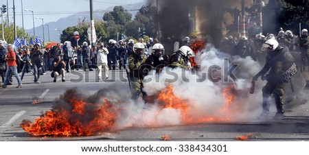 Athens, Greece, November, 12 2015: Clashes have broken out between riot police and youths at a demonstration in central Athens during the general strike.