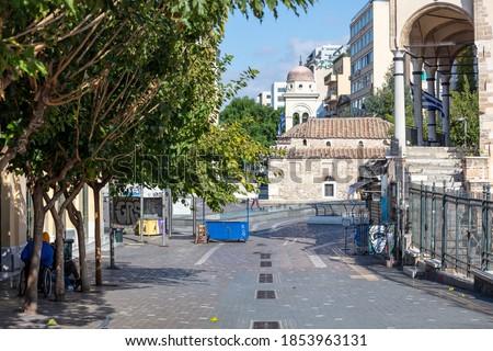 Athens, Greece - November 10, 2020. COVID19 coronavirus lockdown. Empty streets in the city center, business closed, Monastiraki square area