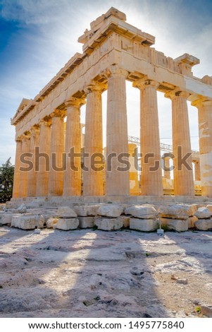 ATHENS, GREECE – NOVEMBER 3, 2018: Ruins of famous ancient Greek temple of Parthenon in backlight. Built on the Acropolis in the 5th century BC in the Doric order. Currently under reconstruction.