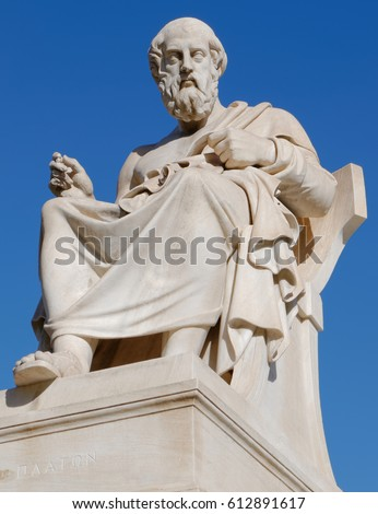 Shutterstock Athens Greece, Plato the philosopher statue on blue sky background