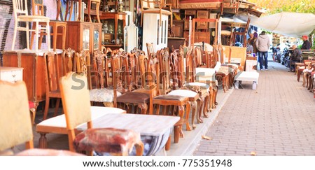 Athens, Greece. Vintage chairs and furniture collection at Monastiraki, an open air flea market