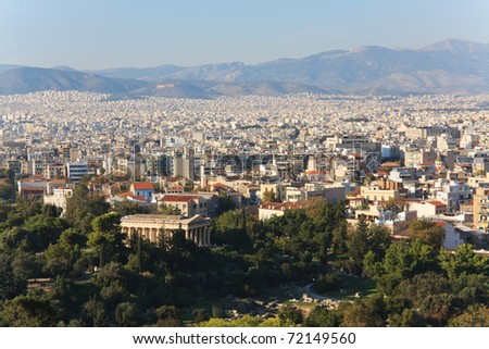 Athens Skyline with the temple of Hephaestus