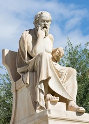 Athens - The statue of Socrates in front of National Academy building by the Italian sculptor Piccarelli (from 19. cent.)