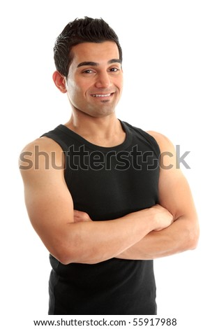 Athlete,body builder, fitness instructor, personal trainer, builder, tradesmen, or other laborer wearing black tank top, arms crossed and smiling.  White background.