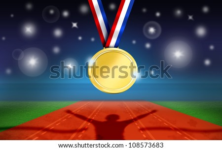 Athlete Celebrates on Racetrack Finish Line. Stadium during Night with Camera flashes and Gold Medal Hung.