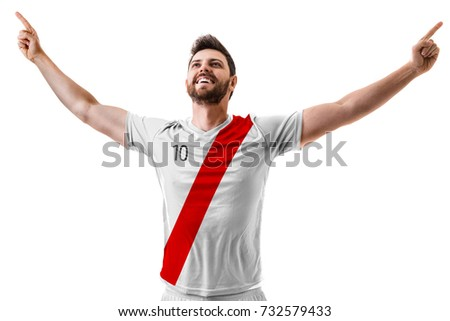 Shutterstock Athlete / Fan celebrating on white and red uniform
