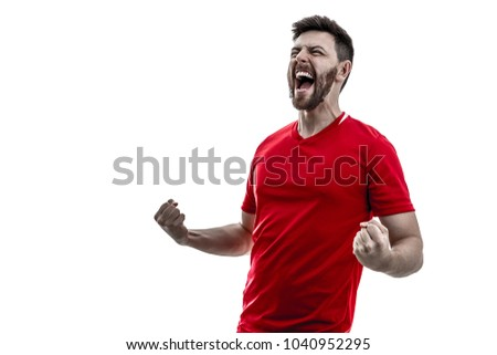 Athlete / fan on red uniform celebrating on white background #1040952295