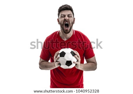 Athlete / fan on red uniform celebrating on white background - Shutterstock ID 1040952328