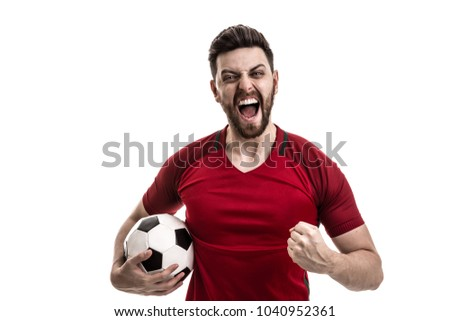 Athlete / fan on red uniform celebrating on white background - Shutterstock ID 1040952361