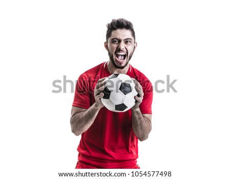 Athlete / fan on red uniform celebrating on white background #1054577498