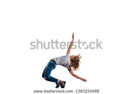 Athlete girl doing aerobic on white background