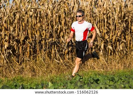 athlete is jogging