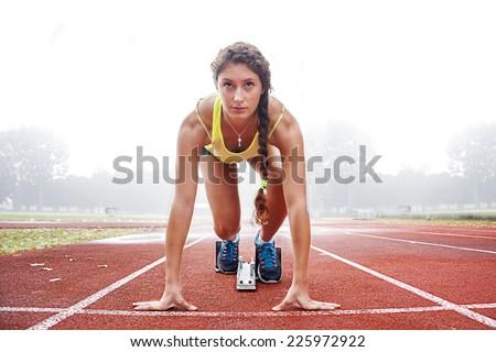athlete on the starting blocks