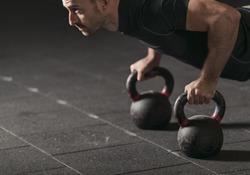 Athlete practicing push ups