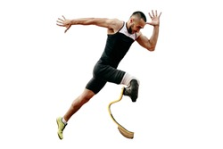 athlete runner disabled amputee explosive start running. isolated on white background