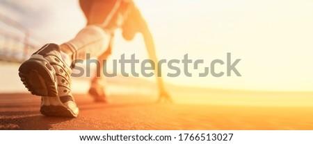Athlete runner run on start at treadmill  Foto stock ©