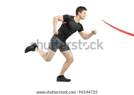 Athlete running towards the finish line isolated on white background