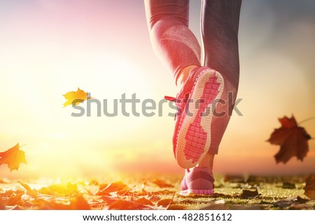 Shutterstock athlete's foots close-up on autumn walk in nature outdoors. healthy lifestyle and sport concepts.
