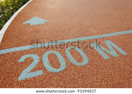Athlete track 200 meter to go #91694837