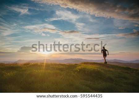 athlete trail running in the...