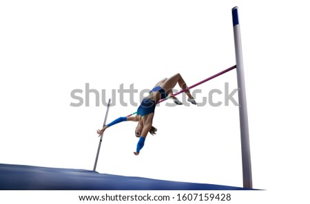 Athlete woman doing a high jump isolated on white background.