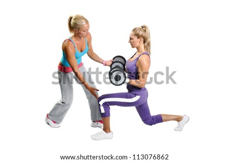 Athlete woman exercising with personal fitness trainer on a white background