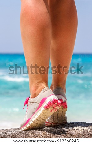athletes foot close-up. healthy lifestyle and sport concepts.Water, fresh air. #612360245