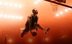 Athletic african american basketball player scoring a layup basket during a professional basketball game. Red floodlit background