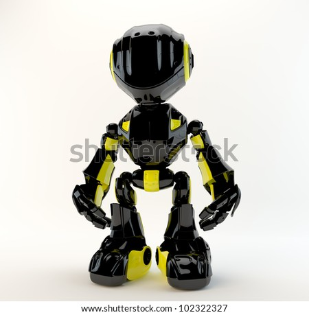 Athletic black-yellow robotic toy in front / Bright lovely toy