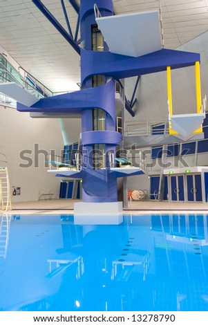 Athletic indoor diving platforms suitable for international sporting events.