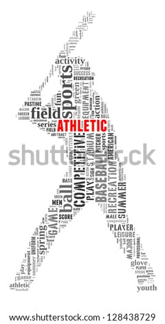 Athletic info-text graphic and arrangement concept on white background (word cloud)