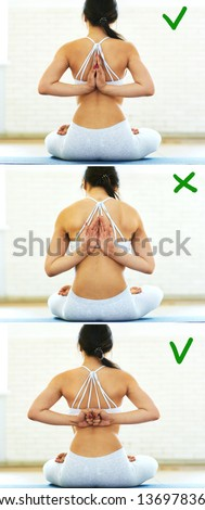 Athletic lady showing right and wrong variation of Reverse Prayer Pose, Paschima Namaskarasana Yoga Pose. Female holding Anjali Mudra behind the back, exercise for flexible wrists, arms, shoulders