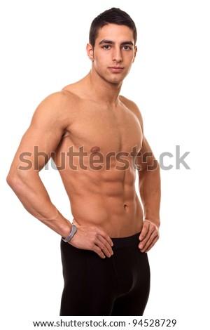 Athletic Man Shirtless - stock photo