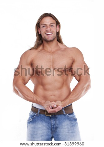 blonde long hair male model
